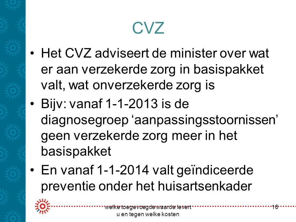 CVZ Het CVZ adviseert de minister over wat er aan verzekerde zorg in basispakket valt, wat onverzekerde zorg is Bijv: vanaf 1-1-2013 is de diagnosegro