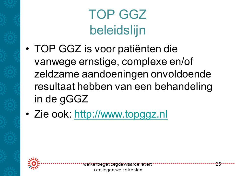 TOP GGZ beleidslijn TOP GGZ is voor patiënten die vanwege ernstige, complexe en/of zeldzame aandoeningen onvoldoende resultaat hebben van een behandel