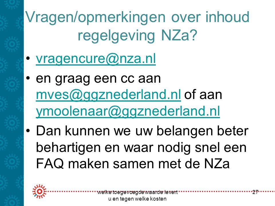 Vragen/opmerkingen over inhoud regelgeving NZa? vragencure@nza.nl en graag een cc aan mves@ggznederland.nl of aan ymoolenaar@ggznederland.nl mves@ggzn