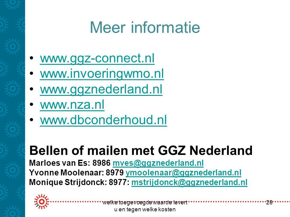 Meer informatie www.ggz-connect.nl www.invoeringwmo.nl www.ggznederland.nl www.nza.nl www.dbconderhoud.nl Bellen of mailen met GGZ Nederland Marloes v
