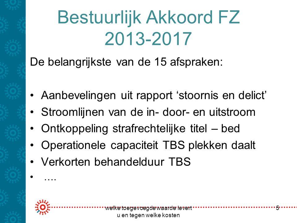 Bestuurlijk Akkoord FZ 2013-2017 De belangrijkste van de 15 afspraken: Aanbevelingen uit rapport 'stoornis en delict' Stroomlijnen van de in- door- en