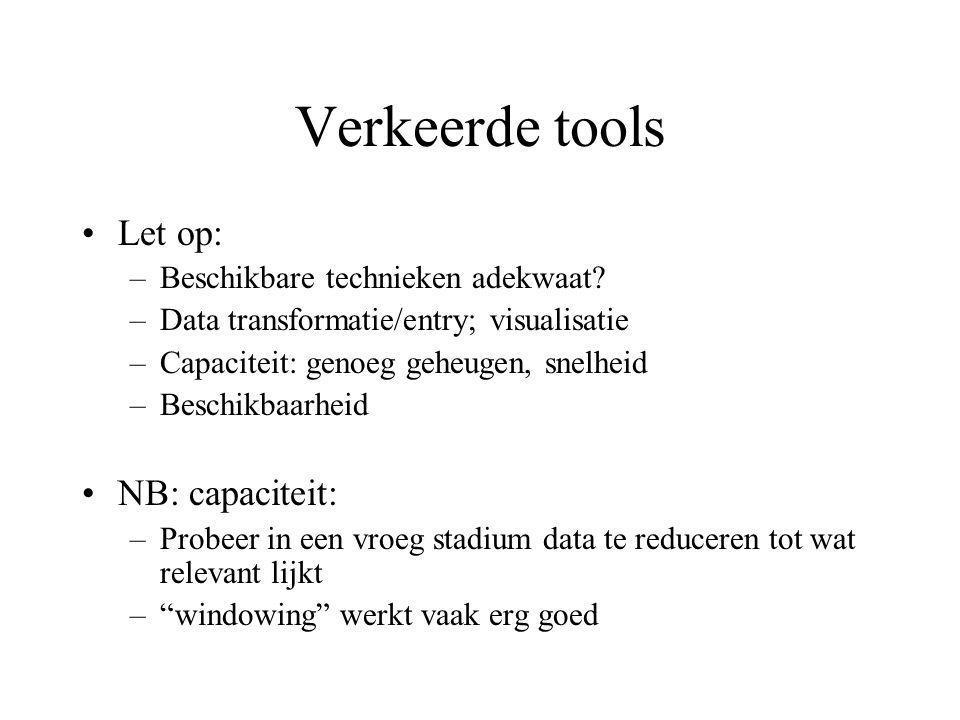 Verkeerde tools Let op: –Beschikbare technieken adekwaat.