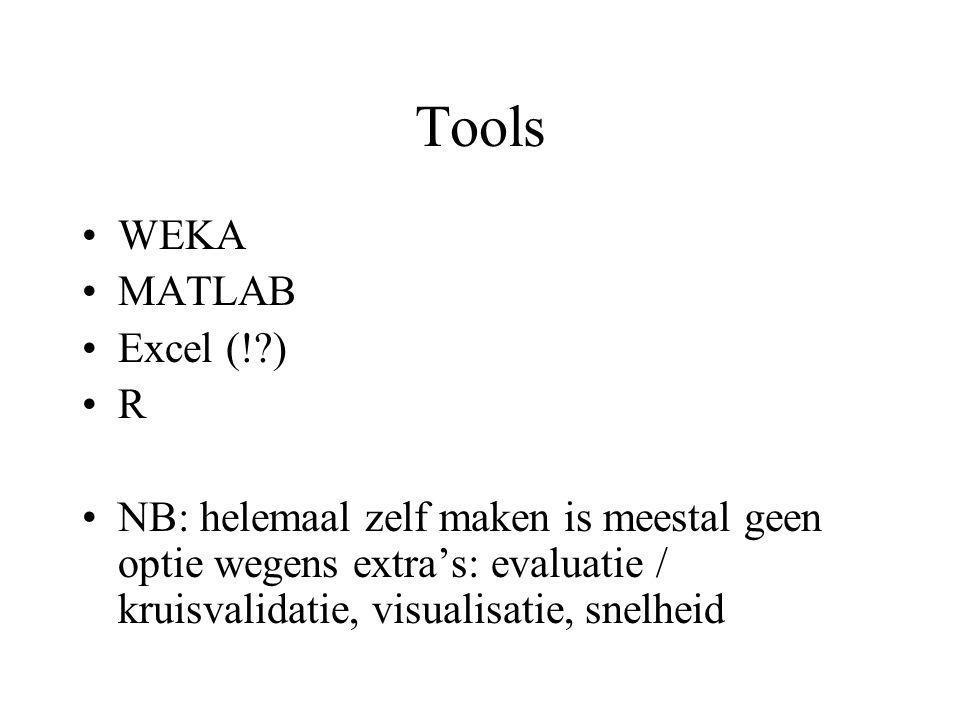 Tools WEKA MATLAB Excel (!?) R NB: helemaal zelf maken is meestal geen optie wegens extra's: evaluatie / kruisvalidatie, visualisatie, snelheid