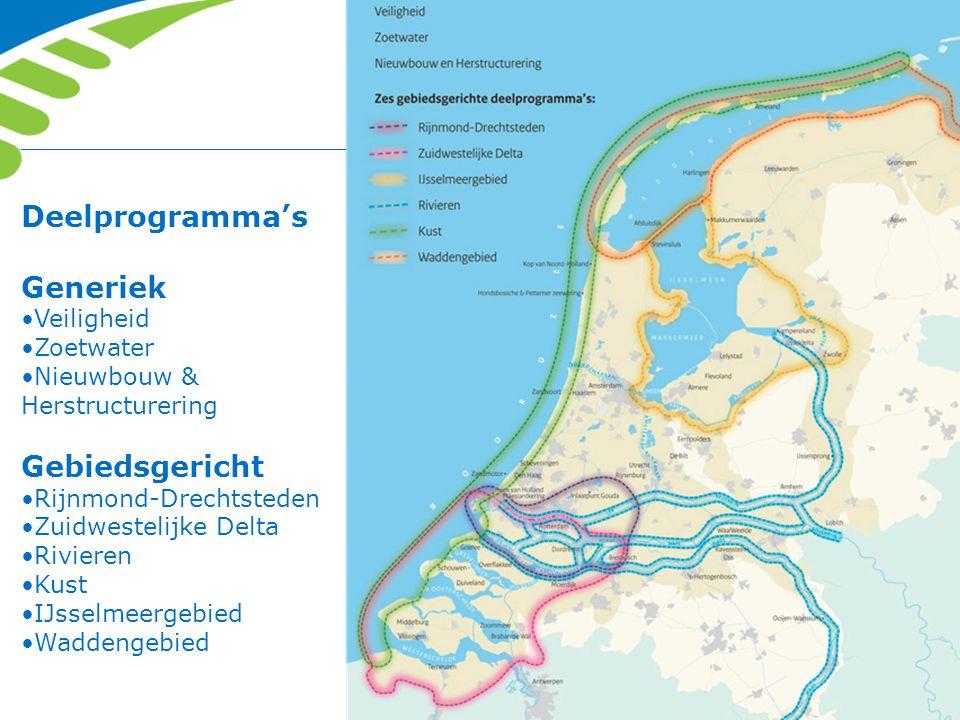 Deelprogramma's Generiek Veiligheid Zoetwater Nieuwbouw & Herstructurering Gebiedsgericht Rijnmond-Drechtsteden Zuidwestelijke Delta Rivieren Kust IJs