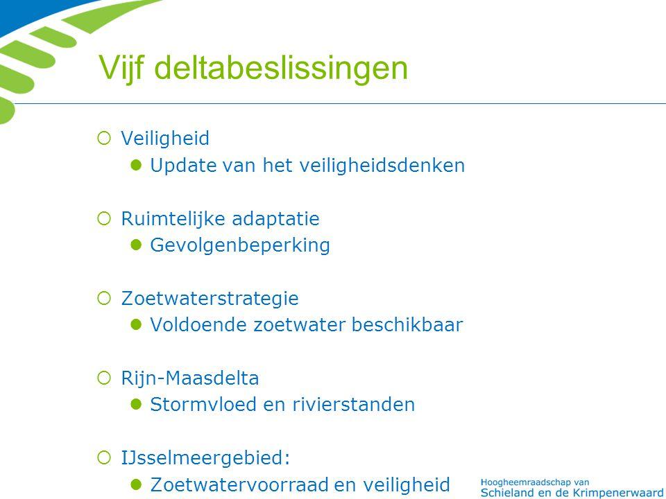 Vijf deltabeslissingen  Veiligheid Update van het veiligheidsdenken  Ruimtelijke adaptatie Gevolgenbeperking  Zoetwaterstrategie Voldoende zoetwater beschikbaar  Rijn-Maasdelta Stormvloed en rivierstanden  IJsselmeergebied: Zoetwatervoorraad en veiligheid
