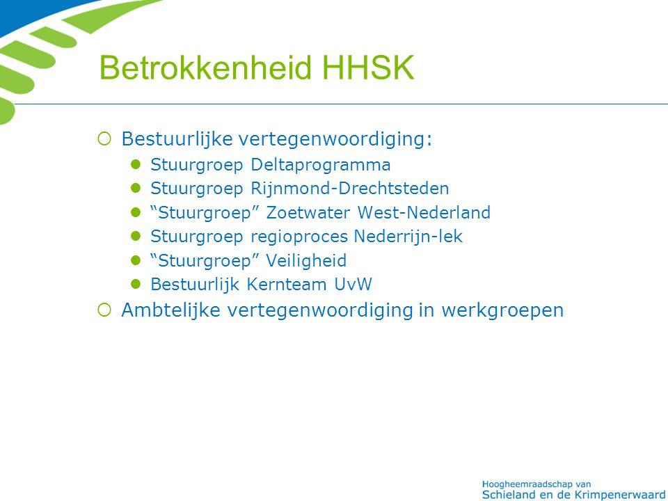 """Betrokkenheid HHSK  Bestuurlijke vertegenwoordiging: Stuurgroep Deltaprogramma Stuurgroep Rijnmond-Drechtsteden """"Stuurgroep"""" Zoetwater West-Nederland"""