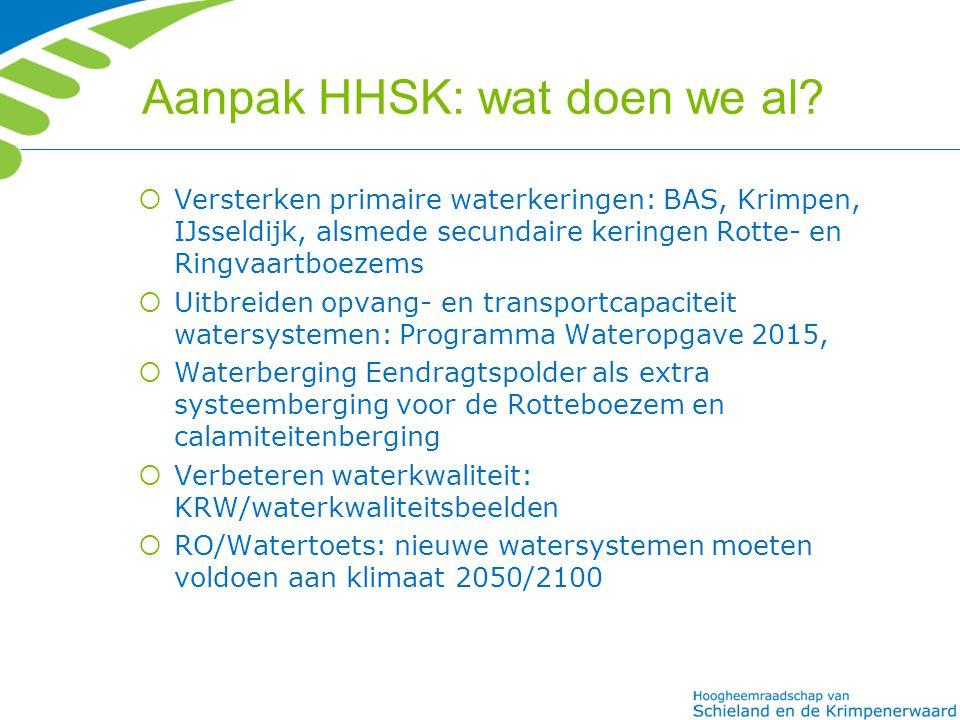 Aanpak HHSK: wat doen we al?  Versterken primaire waterkeringen: BAS, Krimpen, IJsseldijk, alsmede secundaire keringen Rotte- en Ringvaartboezems  U
