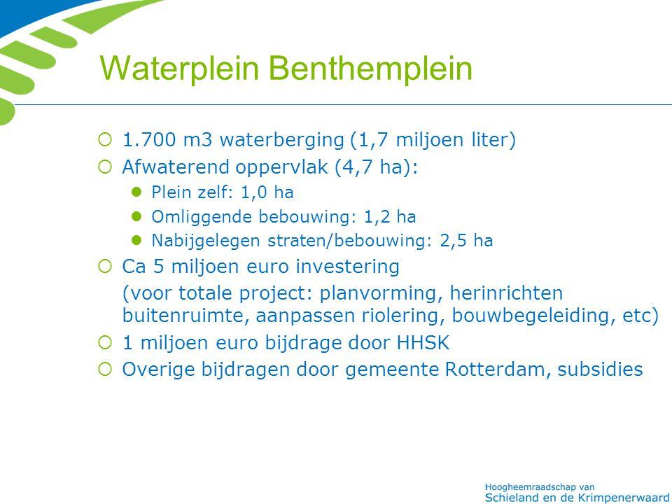 Waterplein Benthemplein  1.700 m3 waterberging (1,7 miljoen liter)  Afwaterend oppervlak (4,7 ha): Plein zelf: 1,0 ha Omliggende bebouwing: 1,2 ha N