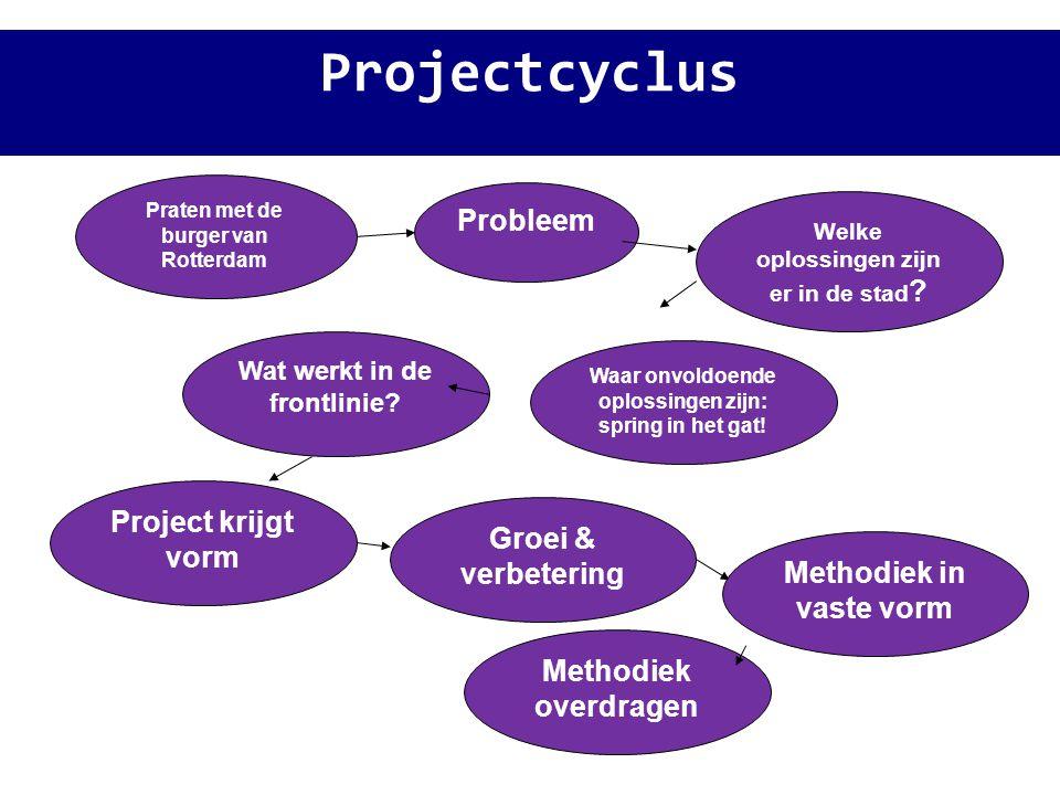 Projectcyclus Probleem Praten met de burger van Rotterdam Welke oplossingen zijn er in de stad ? Waar onvoldoende oplossingen zijn: spring in het gat!