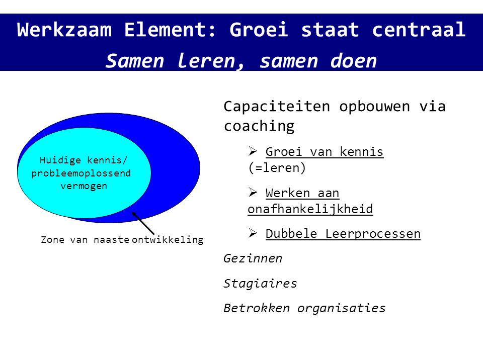 Werkzaam Element: Groei staat centraal Samen leren, samen doen Huidige kennis/ probleemoplossend vermogen Zone van naaste ontwikkeling Capaciteiten op