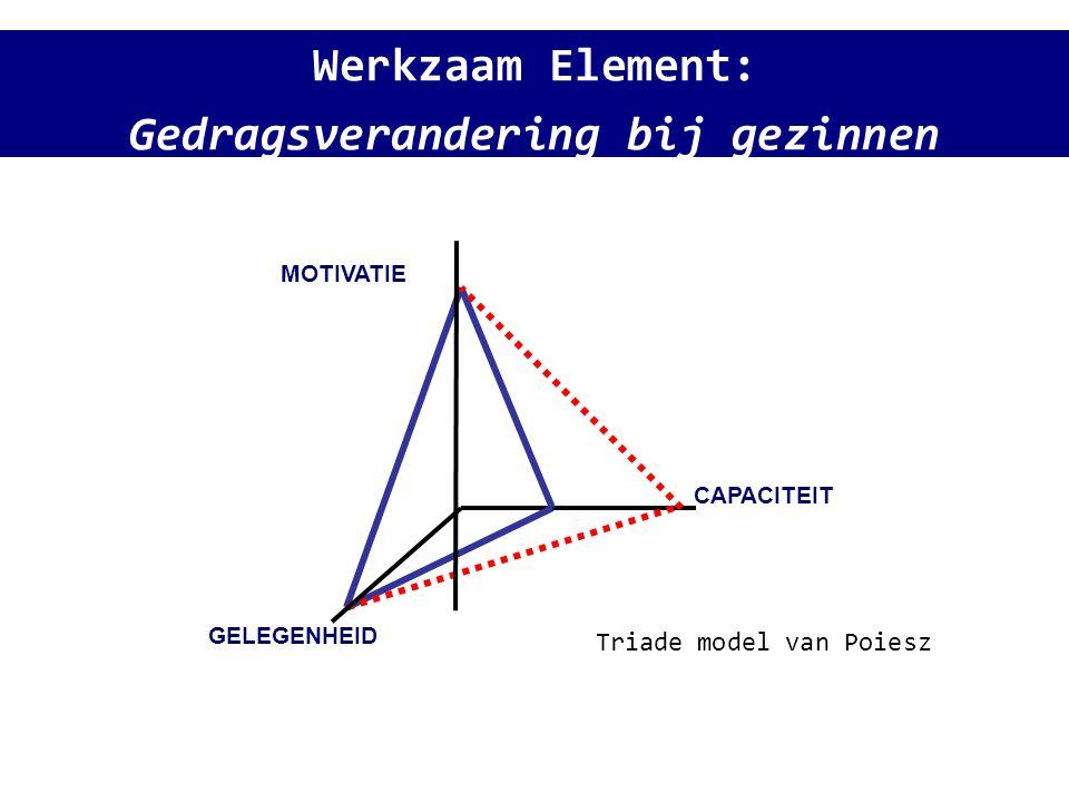 Werkzaam Element: Gedragsverandering bij gezinnen GELEGENHEID CAPACITEIT MOTIVATIE Triade model van Poiesz
