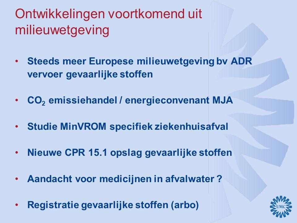 Ontwikkelingen voortkomend uit milieuwetgeving Steeds meer Europese milieuwetgeving bv ADR vervoer gevaarlijke stoffen CO 2 emissiehandel / energiecon