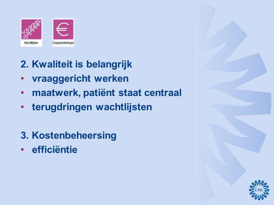 2. Kwaliteit is belangrijk vraaggericht werken maatwerk, patiënt staat centraal terugdringen wachtlijsten 3. Kostenbeheersing efficiëntie