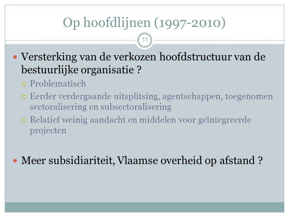 Op hoofdlijnen (1997-2010) 11 Versterking van de verkozen hoofdstructuur van de bestuurlijke organisatie .