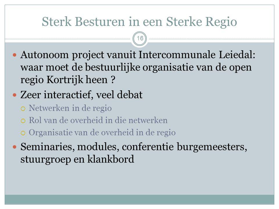 Sterk Besturen in een Sterke Regio 16 Autonoom project vanuit Intercommunale Leiedal: waar moet de bestuurlijke organisatie van de open regio Kortrijk heen .