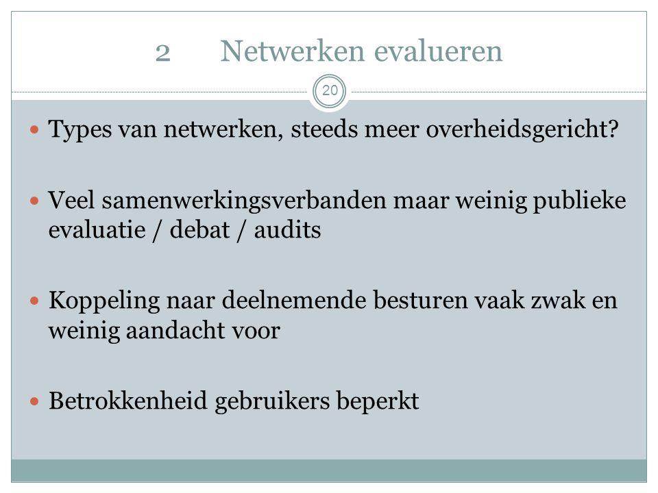 2Netwerken evalueren 20 Types van netwerken, steeds meer overheidsgericht.