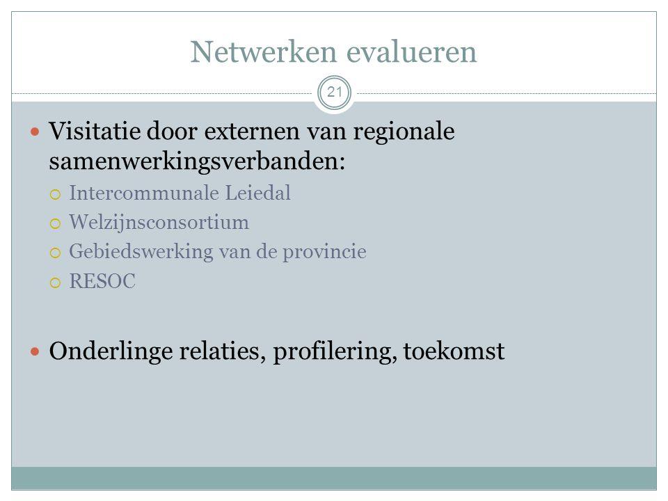 Netwerken evalueren 21 Visitatie door externen van regionale samenwerkingsverbanden:  Intercommunale Leiedal  Welzijnsconsortium  Gebiedswerking van de provincie  RESOC Onderlinge relaties, profilering, toekomst