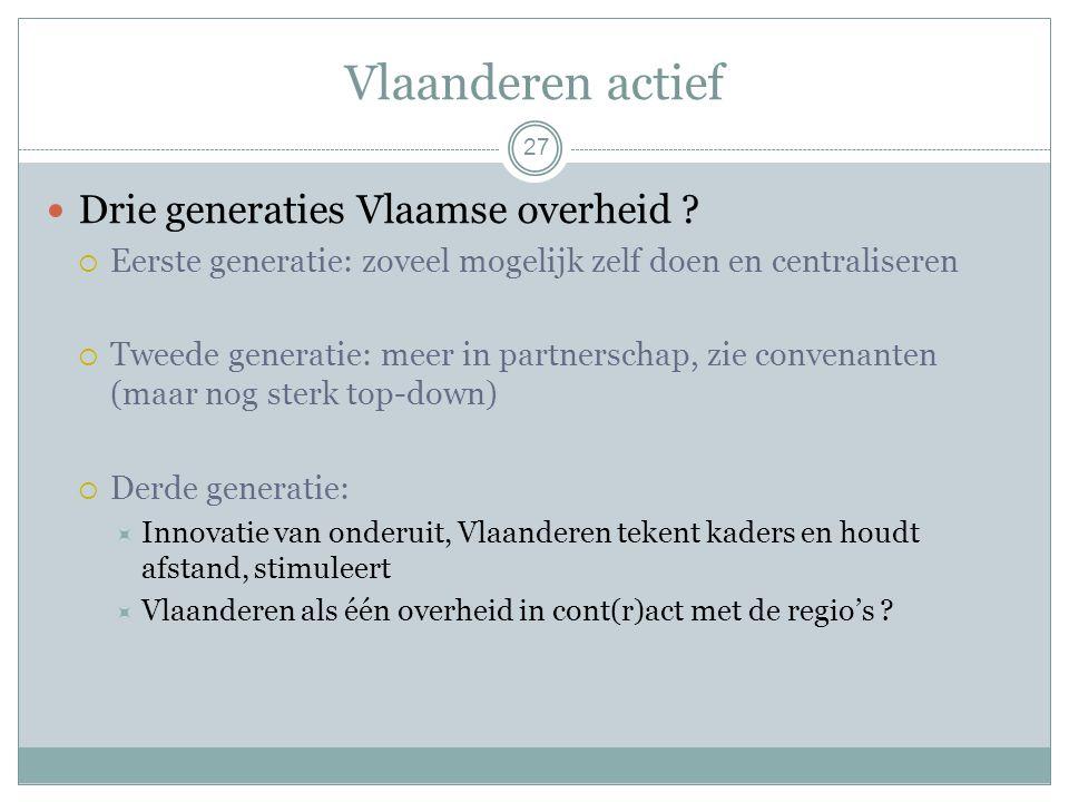 Vlaanderen actief 27 Drie generaties Vlaamse overheid .