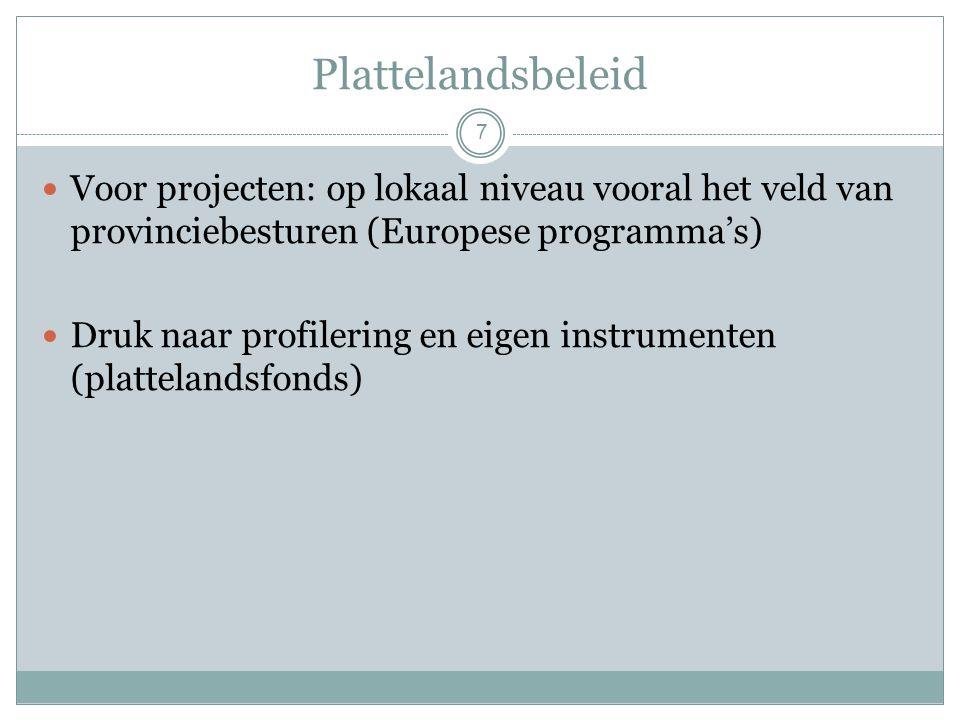 Plattelandsbeleid 7 Voor projecten: op lokaal niveau vooral het veld van provinciebesturen (Europese programma's) Druk naar profilering en eigen instrumenten (plattelandsfonds)