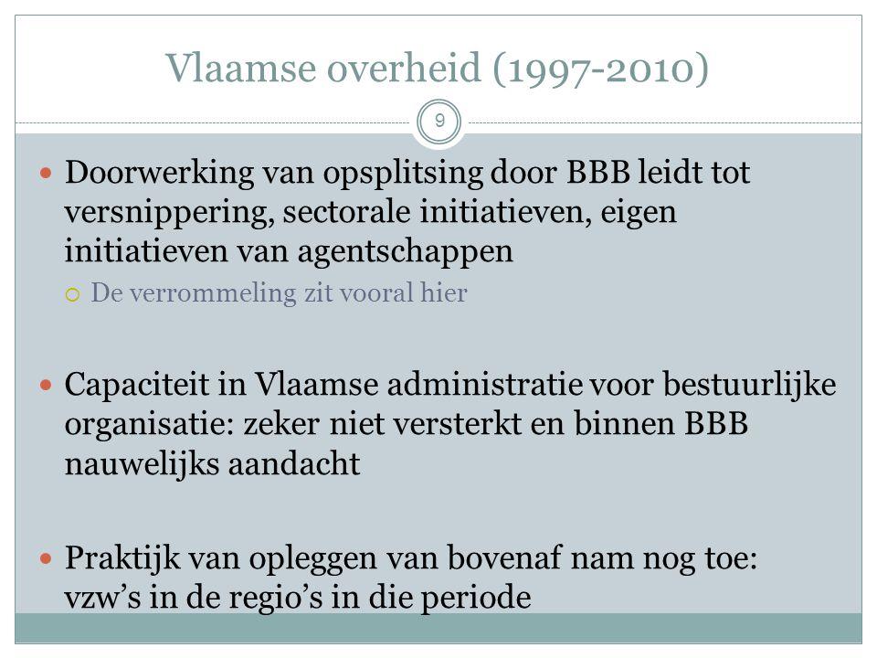Vlaamse overheid (1997-2010) 9 Doorwerking van opsplitsing door BBB leidt tot versnippering, sectorale initiatieven, eigen initiatieven van agentschappen  De verrommeling zit vooral hier Capaciteit in Vlaamse administratie voor bestuurlijke organisatie: zeker niet versterkt en binnen BBB nauwelijks aandacht Praktijk van opleggen van bovenaf nam nog toe: vzw's in de regio's in die periode