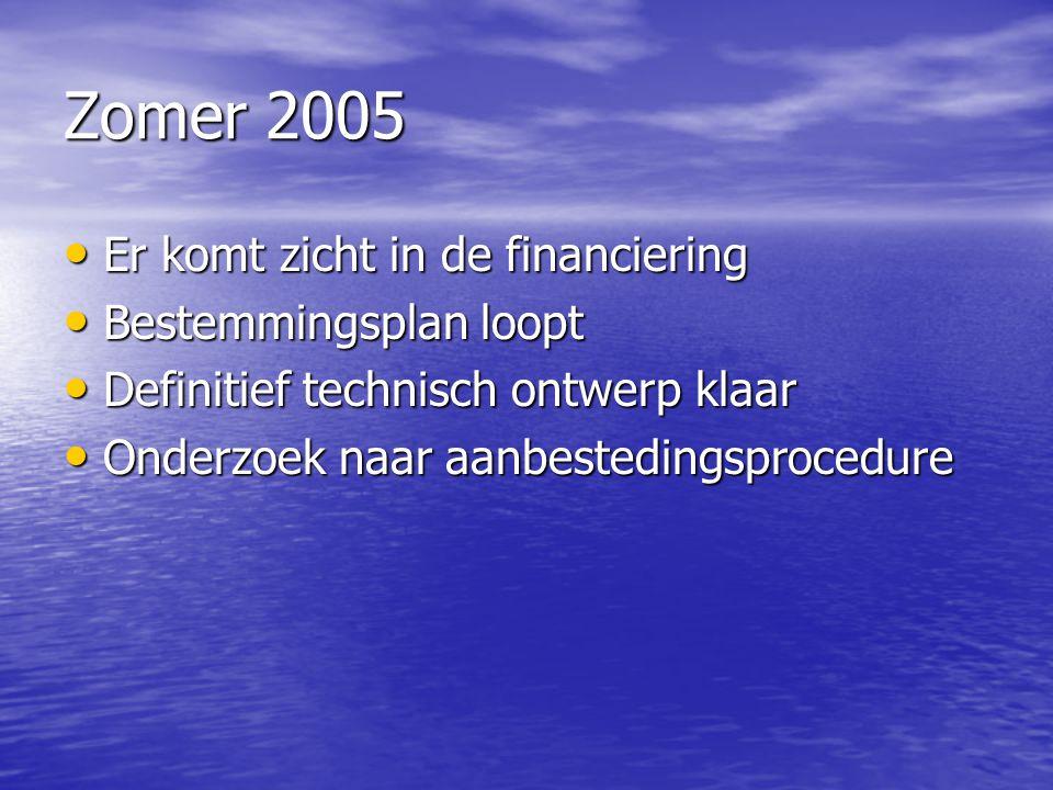 Zomer 2005 Er komt zicht in de financiering Er komt zicht in de financiering Bestemmingsplan loopt Bestemmingsplan loopt Definitief technisch ontwerp
