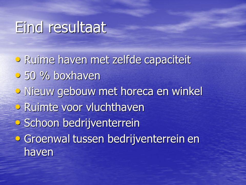 Eind resultaat Ruime haven met zelfde capaciteit Ruime haven met zelfde capaciteit 50 % boxhaven 50 % boxhaven Nieuw gebouw met horeca en winkel Nieuw