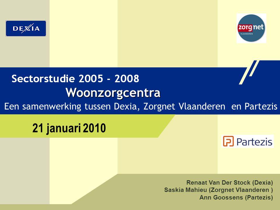 1 SECTORSTUDIE WOONZORGCENTRA Renaat Van Der Stock (Dexia) Saskia Mahieu (Zorgnet Vlaanderen ) Ann Goossens (Partezis) Woonzorgcentra Een samenwerking tussen Dexia, Zorgnet Vlaanderen en Partezis 21 januari 2010