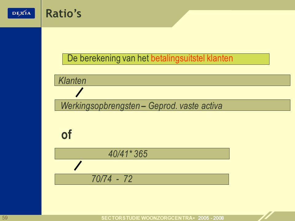 59 SECTORSTUDIE WOONZORGCENTRA Ratio's Klanten 40/41* 365 70/74 - 72 Werkingsopbrengsten – Geprod. vaste activa De berekening van het betalingsuitstel