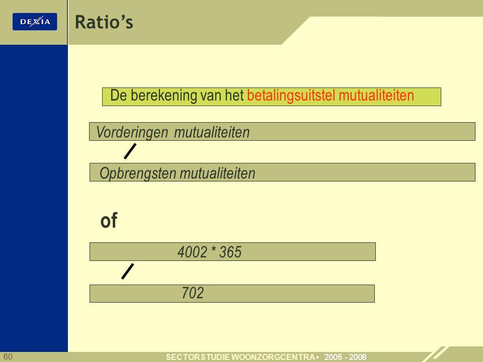 60 SECTORSTUDIE WOONZORGCENTRA Ratio's Vorderingen mutualiteiten 4002 * 365 702 Opbrengsten mutualiteiten De berekening van het betalingsuitstel mutualiteiten of