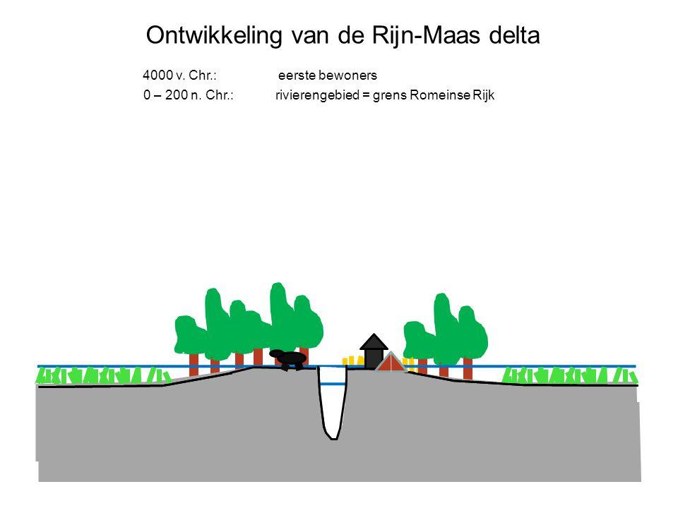 Ontwikkeling van de Rijn-Maas delta 4000 v. Chr.: eerste bewoners 0 – 200 n. Chr.: rivierengebied = grens Romeinse Rijk