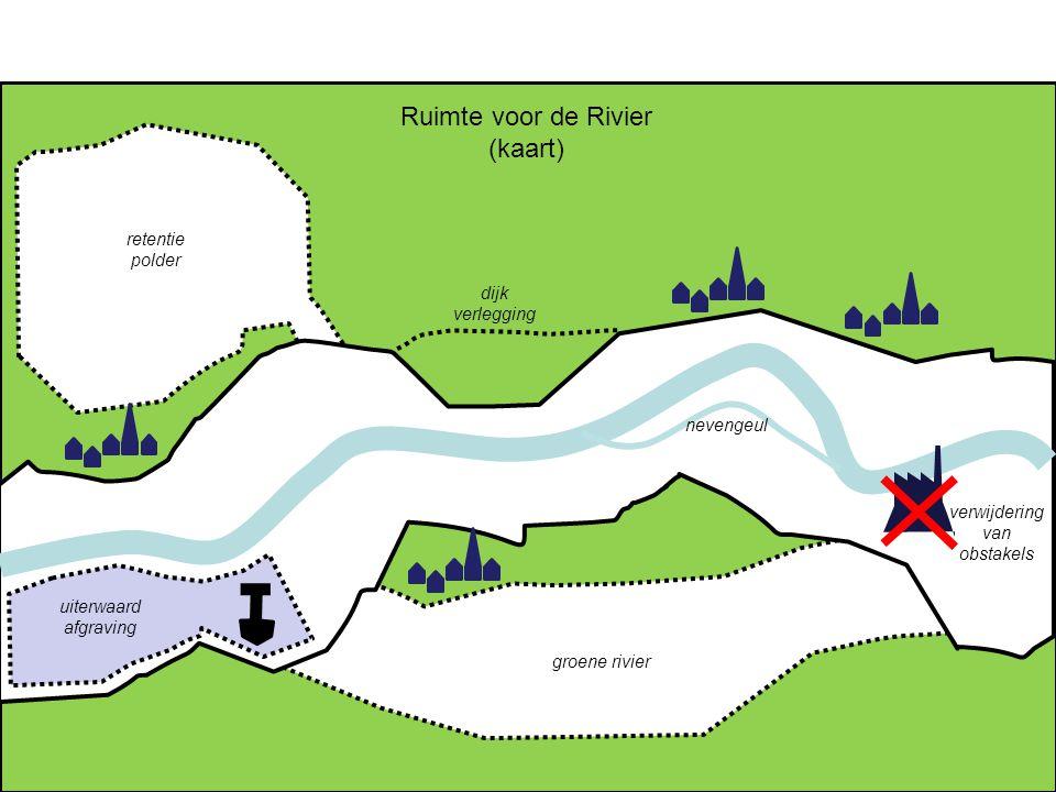 retentie polder groene rivier dijk verlegging uiterwaard afgraving nevengeul verwijdering van obstakels Ruimte voor de Rivier (kaart)
