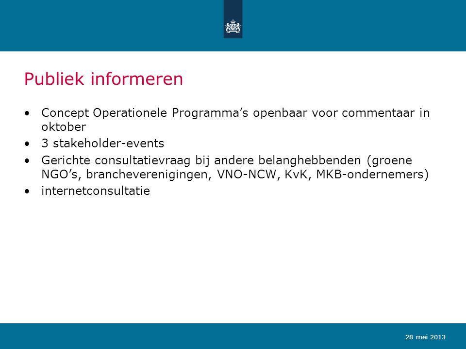 Publiek informeren Concept Operationele Programma's openbaar voor commentaar in oktober 3 stakeholder-events Gerichte consultatievraag bij andere bela