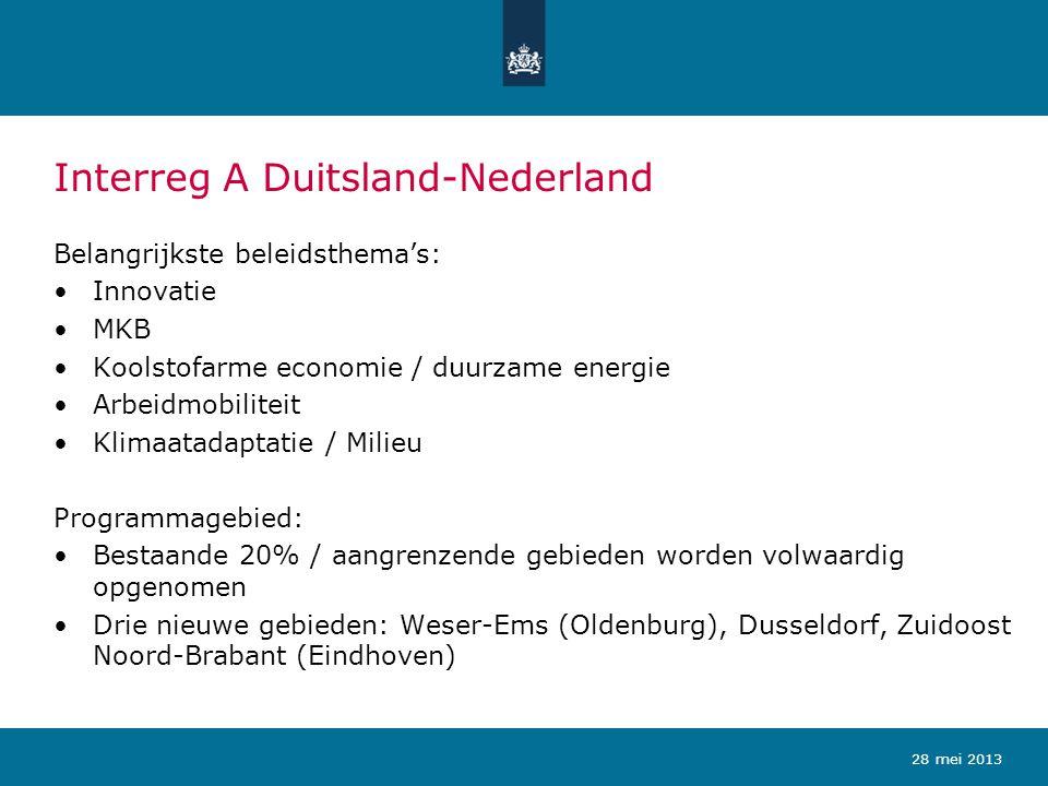 Interreg Euregio MaasRijn Belangrijkste beleidsthema's: Innovatie MKB Koolstofarme economie / duurzame energie Arbeidmobiliteit Sociale inclusie / overheidssamenwerking Programmagebied: Discussie over programmagebied nog niet afgerond Nederland en Vlaanderen stellen voor huidige 20% / aangrenzende gebieden Leuven en Zuidoost Noord-Brabant volwaardig op te nemen in het EMR-programma 28 mei 2013
