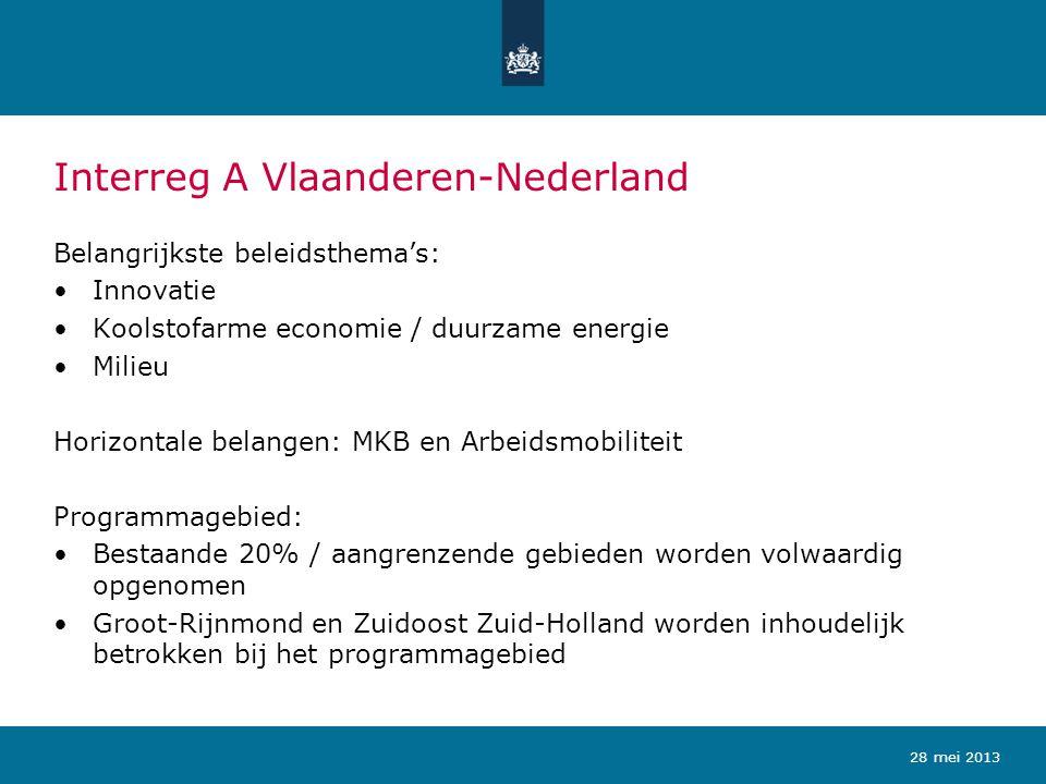 Interreg A Vlaanderen-Nederland Belangrijkste beleidsthema's: Innovatie Koolstofarme economie / duurzame energie Milieu Horizontale belangen: MKB en A
