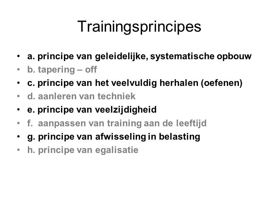 Trainingsprincipes a. principe van geleidelijke, systematische opbouw b. tapering – off c. principe van het veelvuldig herhalen (oefenen) d. aanleren
