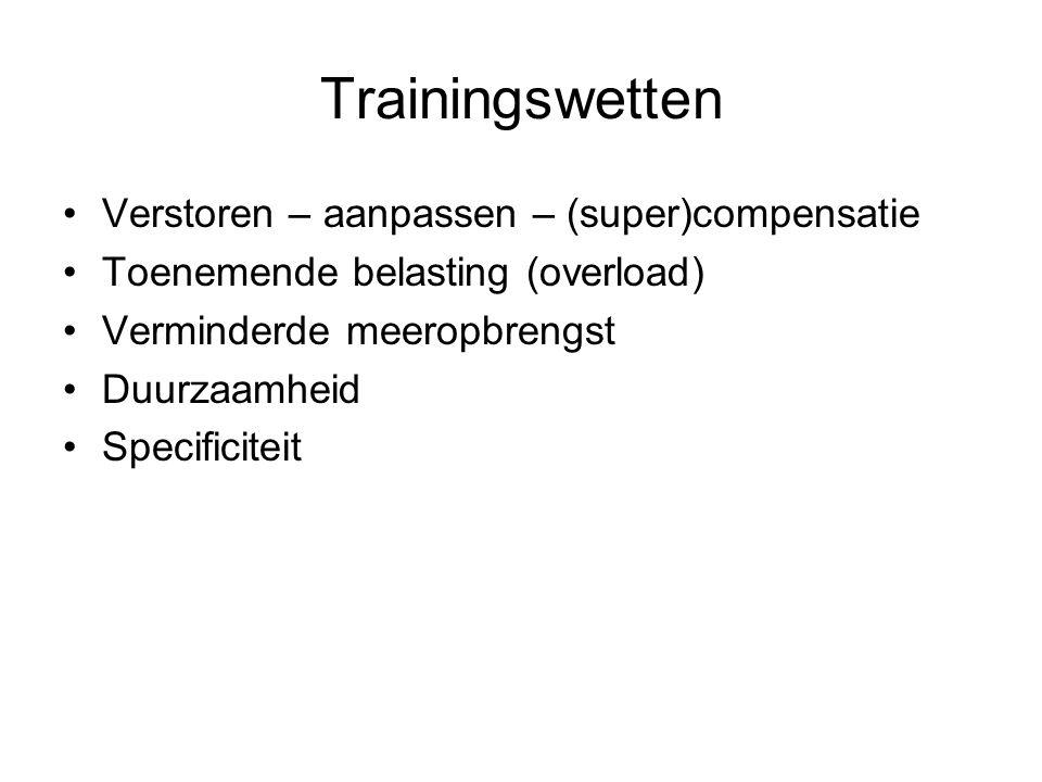 Trainingswetten Verstoren – aanpassen – (super)compensatie Toenemende belasting (overload) Verminderde meeropbrengst Duurzaamheid Specificiteit