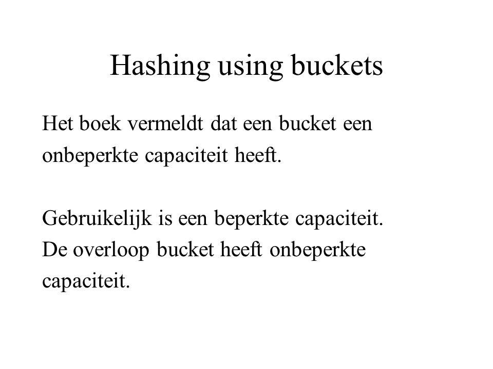 Hashing using buckets Het boek vermeldt dat een bucket een onbeperkte capaciteit heeft.