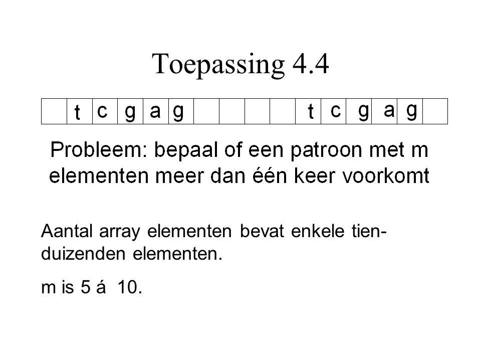 Toepassing 4.4 Aantal array elementen bevat enkele tien- duizenden elementen. m is 5 á 10.