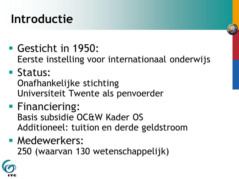 Introductie  Gesticht in 1950: Eerste instelling voor internationaal onderwijs  Status: Onafhankelijke stichting Universiteit Twente als penvoerder
