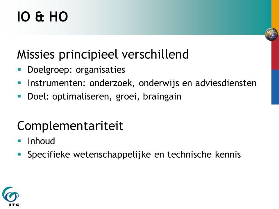 IO & HO Missies principieel verschillend  Doelgroep: organisaties  Instrumenten: onderzoek, onderwijs en adviesdiensten  Doel: optimaliseren, groei
