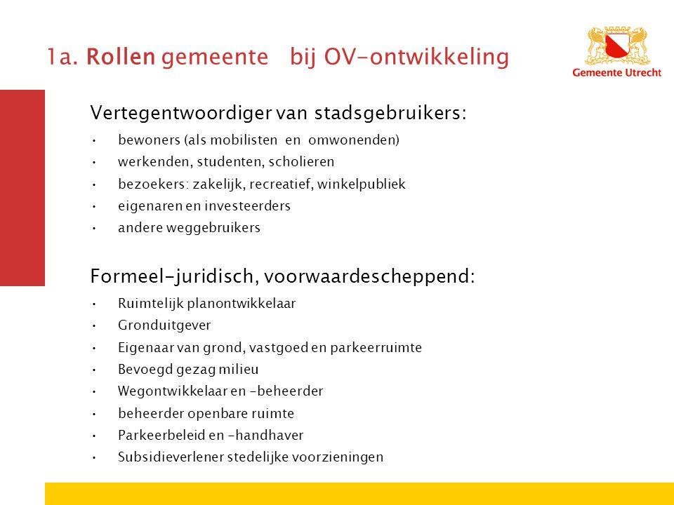 1a. Rollen gemeente bij OV-ontwikkeling Vertegentwoordiger van stadsgebruikers: bewoners (als mobilisten en omwonenden) werkenden, studenten, scholier