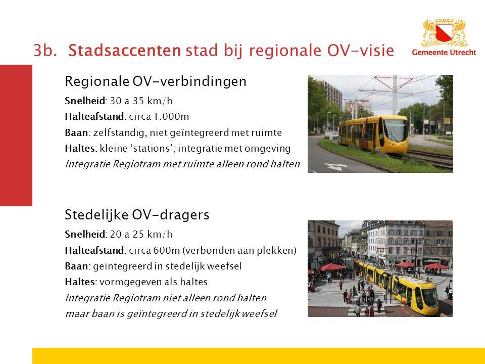 3b. Stadsaccenten stad bij regionale OV-visie Regionale OV-verbindingen Snelheid: 30 a 35 km/h Halteafstand: circa 1.000m Baan: zelfstandig, niet geïn