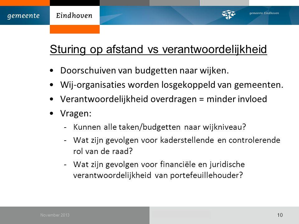 December 2010 Sturing op afstand vs verantwoordelijkheid Doorschuiven van budgetten naar wijken. Wij-organisaties worden losgekoppeld van gemeenten. V