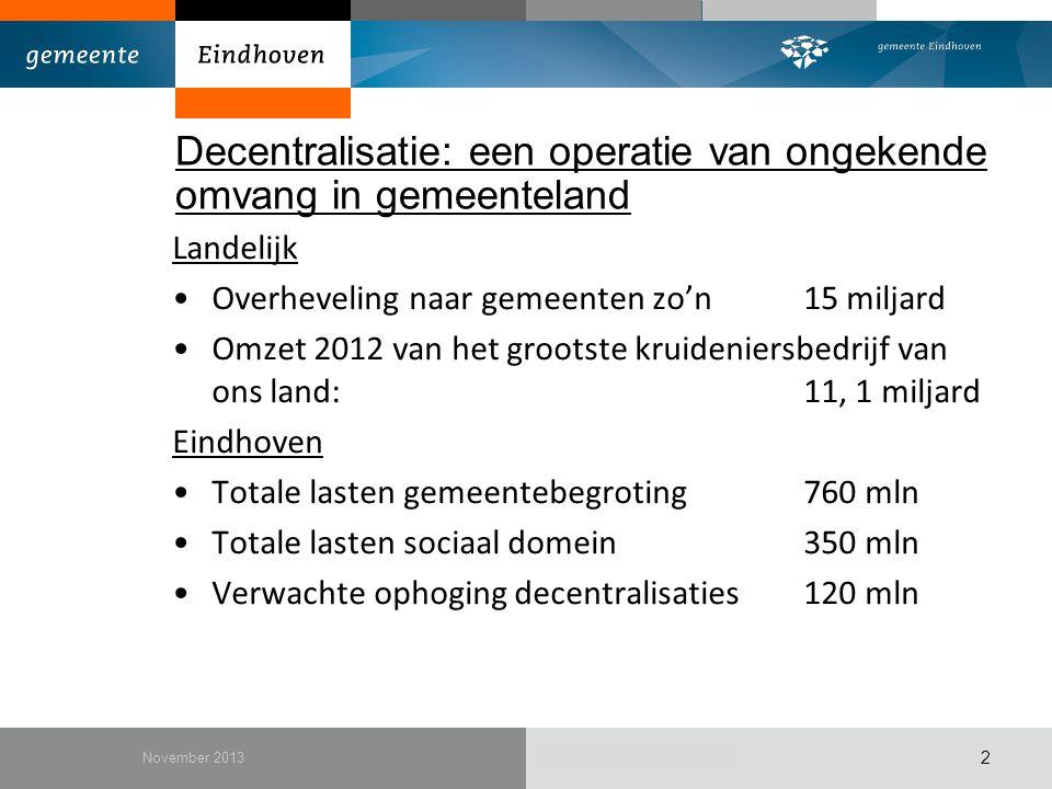 December 2010 Decentralisatie: een operatie van ongekende omvang in gemeenteland Landelijk Overheveling naar gemeenten zo'n15 miljard Omzet 2012 van h