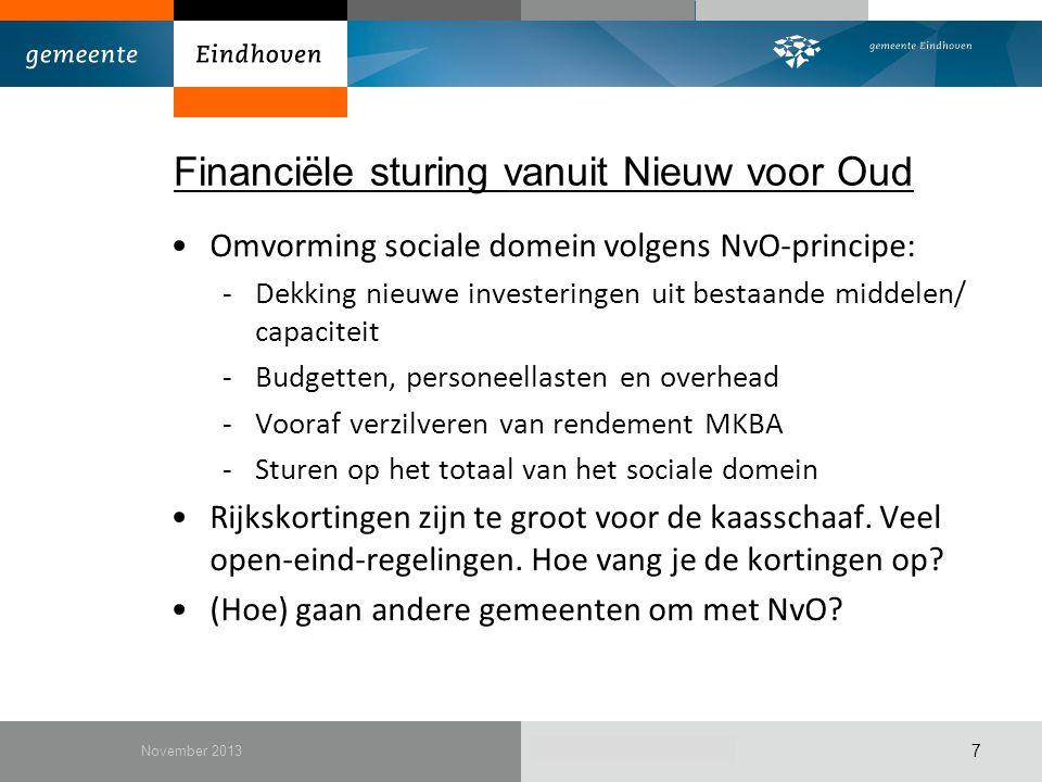 December 2010 Financiële sturing vanuit Nieuw voor Oud Omvorming sociale domein volgens NvO-principe: -Dekking nieuwe investeringen uit bestaande midd