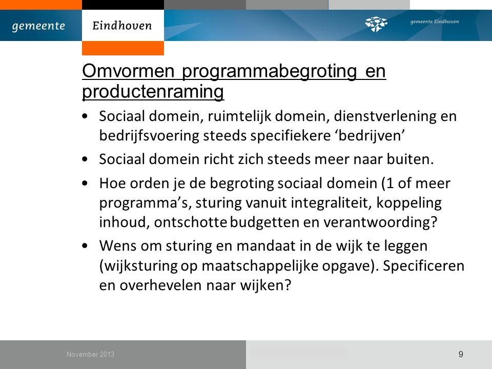 December 2010 Omvormen programmabegroting en productenraming Sociaal domein, ruimtelijk domein, dienstverlening en bedrijfsvoering steeds specifiekere
