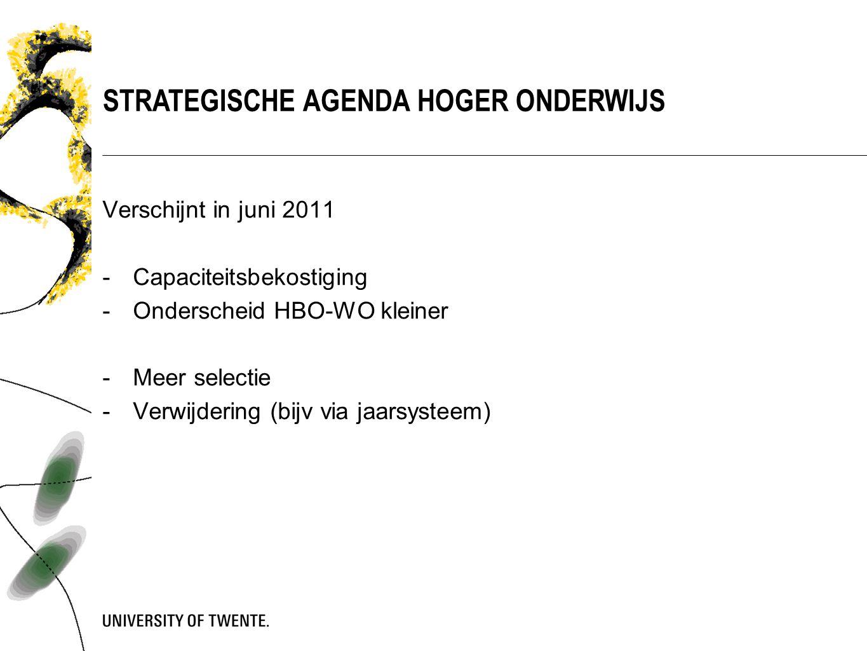 STRATEGISCHE AGENDA HOGER ONDERWIJS Verschijnt in juni 2011 -Capaciteitsbekostiging -Onderscheid HBO-WO kleiner -Meer selectie -Verwijdering (bijv via jaarsysteem)
