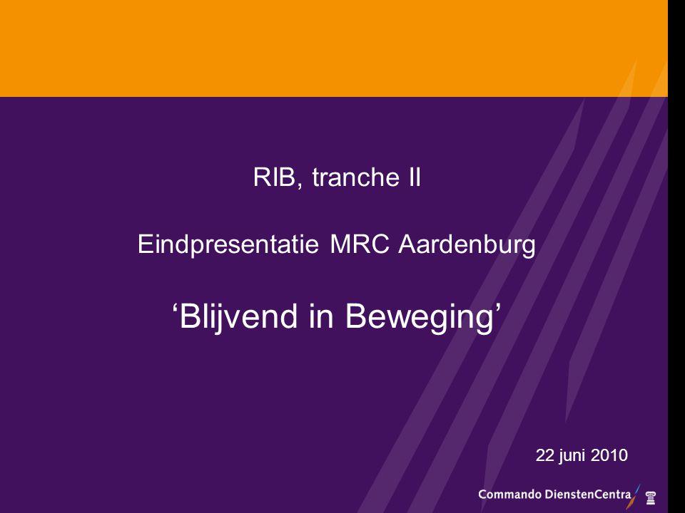 Inhoud Doelgroep Geconstateerde knelpunten bij aanvang project Doelstellingen en Interventies Resultaten Geleerde lessen Vervolg en verbreding RiB binnen MRC Aardenburg