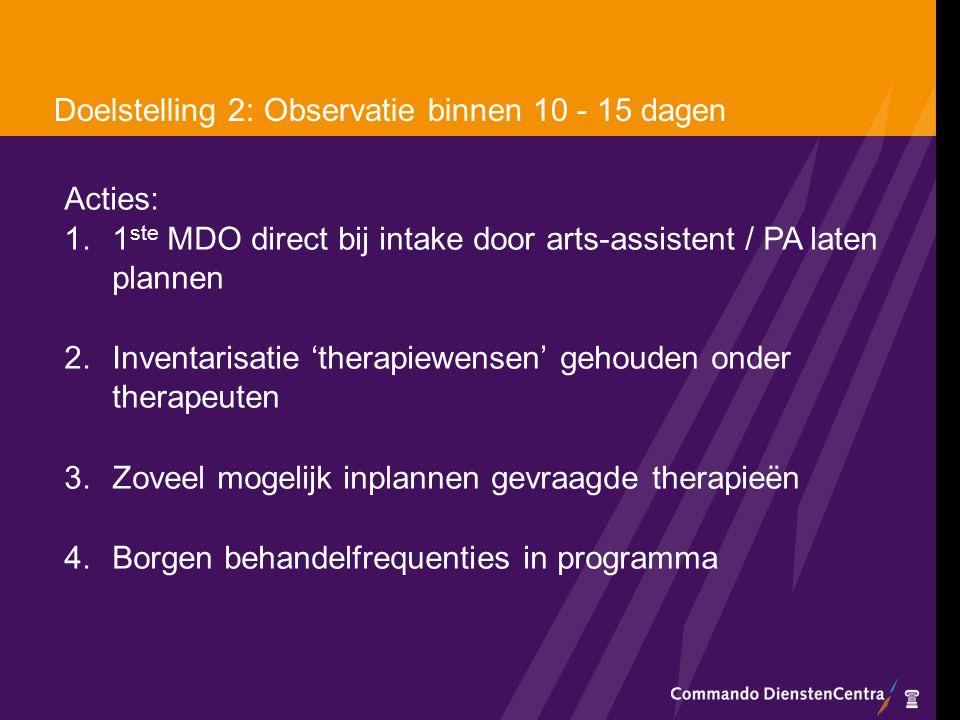 Doelstelling 2: Observatie binnen 10 - 15 dagen Acties: 1.1 ste MDO direct bij intake door arts-assistent / PA laten plannen 2.Inventarisatie 'therapi