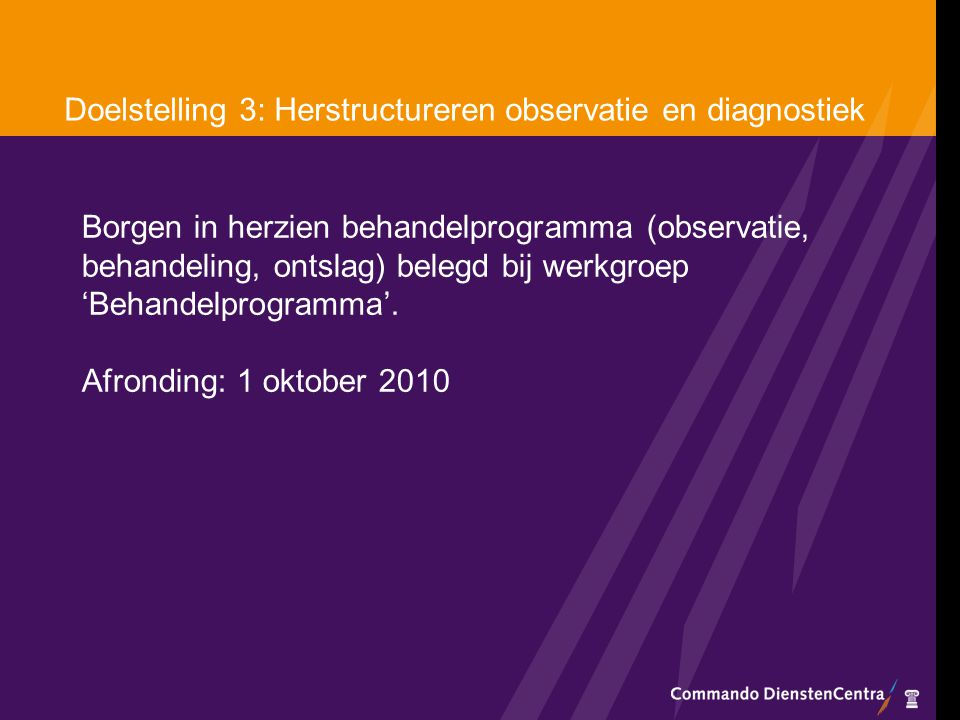 Doelstelling 3: Herstructureren observatie en diagnostiek Borgen in herzien behandelprogramma (observatie, behandeling, ontslag) belegd bij werkgroep